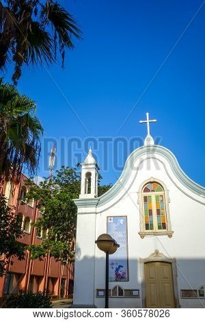 Mindelo/cape Verde - August 20, 2018 - Small Colonial Church, Sao Vicente