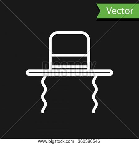 White Line Orthodox Jewish Hat With Sidelocks Icon Isolated On Black Background. Jewish Men In The T