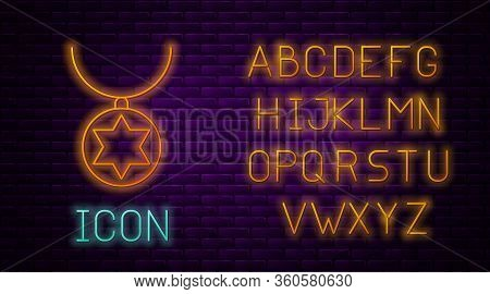 Glowing Neon Line Star Of David Necklace On Chain Icon Isolated On Brick Wall Background. Jewish Rel