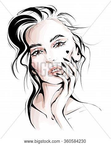 Hand Drawn Beautiful Woman Face. Stylish Blonde Hair Girl. Fashion Woman. Sketch. Fashion Illustrati