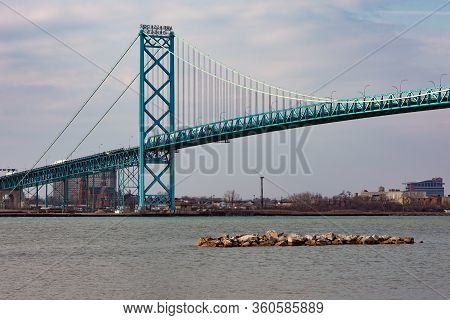 View Of Ambassador Bridge International Border Crossing From Windsor Ontario