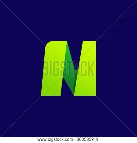 N Letter Logo. Folded Paper Style. Vector Icon Perfect For Craft Labels, Origami Posters, Cute Ident
