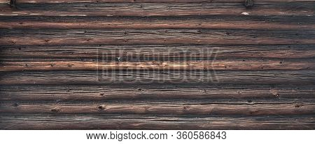 Brown Old Log Wall. Wooden Decrepit Texture