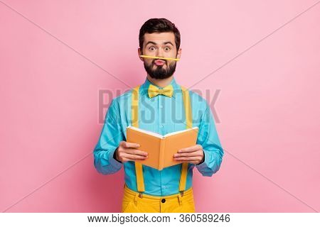 Portrait Of His He Nice Attractive Comic Humorous Cheerful Bearded Guy Wearing Mint Shirt Grimacing