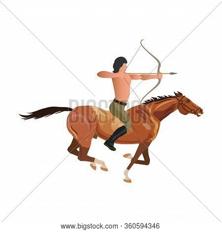 Naked Man Is Riding A Horse And Aiming From The Bow.