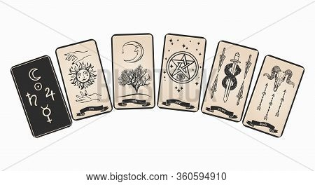 Tarot Card With Symbols Vector Illustration. Tarot Cards Collection For Fortune Telling.