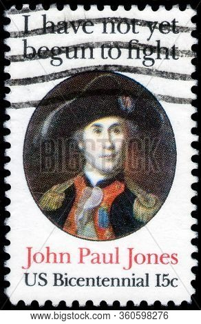 Saint Petersburg, Russia - April 01, 2020: Postage Stamp Printed In Usa With A Portrait Of Admiral J