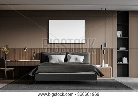 Interior Of Stylish Master Bedroom With Beige And White Walls, Concrete Floor, Cozy King Size Bed, H