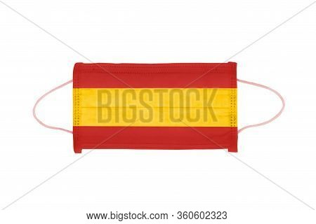 Pp Non-woven Disposable Medical Face Mask Isolated On White Background. Medical Mask Toned In Spain