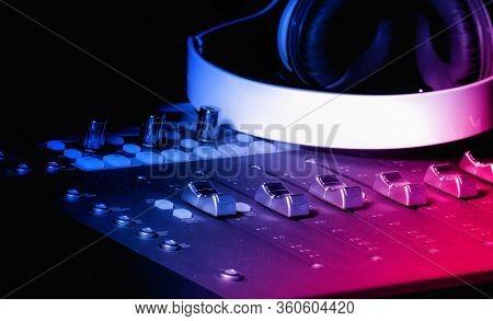 Recording studio equipment for event.