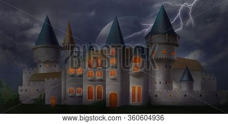 Gloomy And Spooky Dark Ancient Castle. Fantasy Backdrop. Concept Art. Realistic Illustration. Video