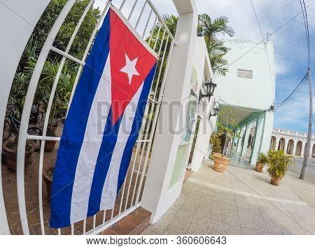 Cuban Flag In Old Havana City Cuba