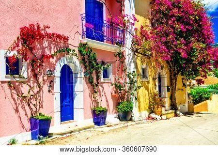 Most beautiful greek villages - colorful Assos in Cefalonia (Kefalonia). Ionian islands of Greece