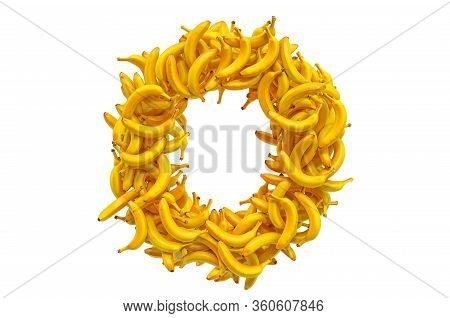 Letter O From Bananas, 3d Rendering Isolated On  White Background