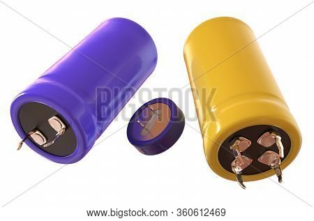 Supercapacitor Device Isolated On White. 3d Rendering