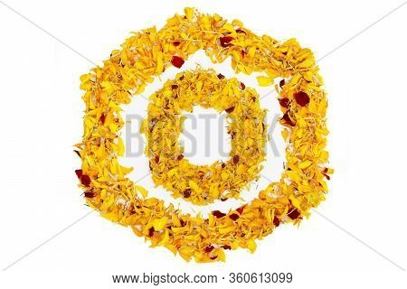 Letter O In Spring Flower Petal Hexagon. Marigold Petal Alphabet Isolated On White Background.