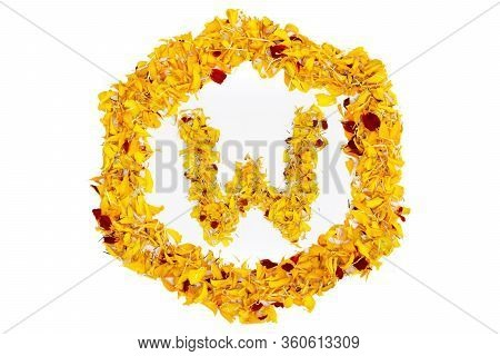 Letter W In Spring Flower Petal Hexagon. Marigold Petal Alphabet Isolated On White Background.