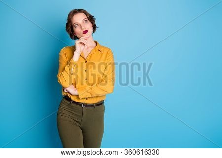 Photo Of Pretty Funny Charming Lady Arm Finger On Chin Look Empty Space Candid Creative Person Wear