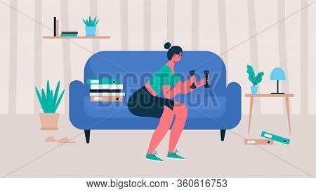 Woman In Sportswear Doing Exercise Squat With Dumbbells At Home. Woman Doing Workout Indoor. Woman A