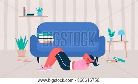 Woman In Sportswear Doing Crunches At Home. Woman Doing Workout Indoor. Woman Activities. Sport Heal