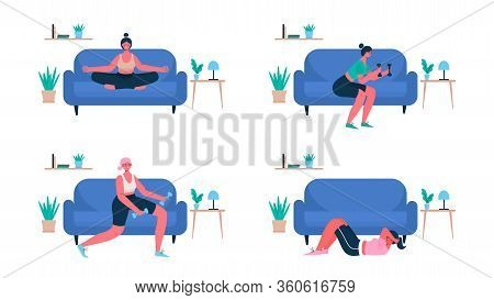Woman Exercising At Home Set. Woman Doing Workout Indoor. Woman Activities. Sport Healthy Lifestyle,