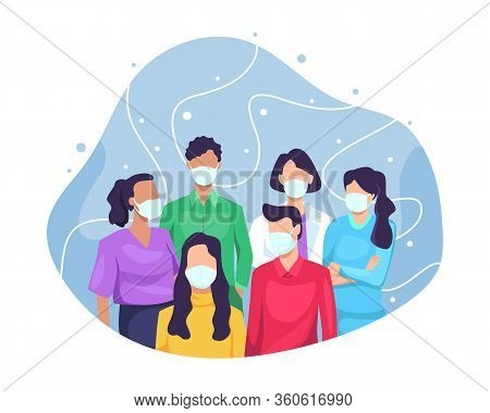 Vector Illustration Group Of People Wearing Medical Mask. People Protective Masks Epidemic Stop Coro