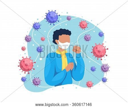 Vector Illustration A Man Cough And Having Cold. Person With Cold, Male Character Coughing With Wear