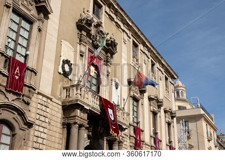 Catania, Sicily - February 12, 2020: The Detail Of Palazzo Degli Elefanti Which Serves As A Town Hal