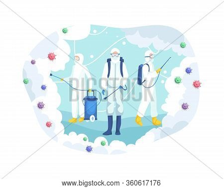 Vector Illustration Virus Disinfection Concept. Medical Scientists In Hazmat Suits Cleaning And Disi
