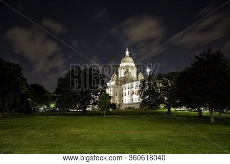 Rhode Island State House In Providence At Night