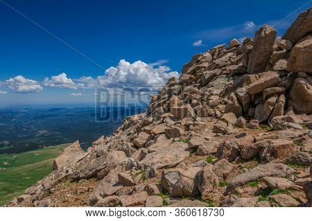 View or the rocky mountains from Mt. Evans on a sunny day