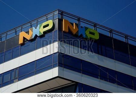 Bucharest, Romania - April 07, 2020: The Logo Of  American Dutch Semiconductor Manufacturer Nxp Semi