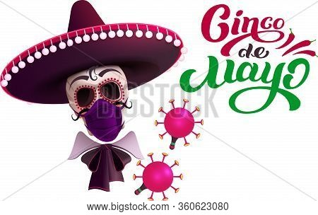 Cinco De Mayo Skull In Sombrero And Mask Protection Against Coronavirus. Text Greeting Card. Isolate
