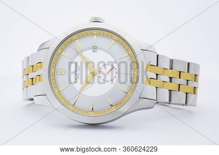 Ibach, Switzerland 31.03.2020 - The Close Up Of Victorinox Woman Watch Stainless Steel Case Stainles