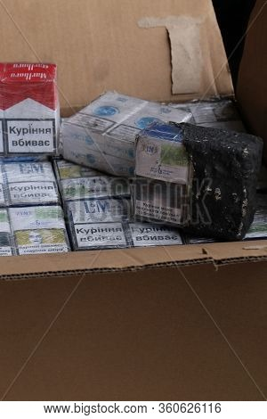 Shegini, Ukraine - Marh, 2017: Close-up Of Smuggled Cigarettes Packs, Which Were Specially Disguised