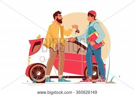 Bearded Businessman Giving Keys To Young Man Making Car Deal. Concept Handsome Male Character Near U
