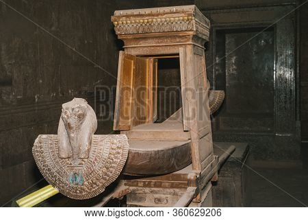 Reconstruciton Of The Sacred Barge Of Horus Or Solar Bark And Shrine Of Nectanebo In The Inner Sanct