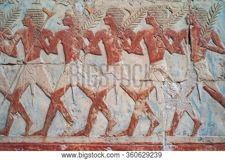 Ancient Relief Of The Trading Expedition Of Queen Hatshepsut To The Land Of Punt In The Mortuary Tem
