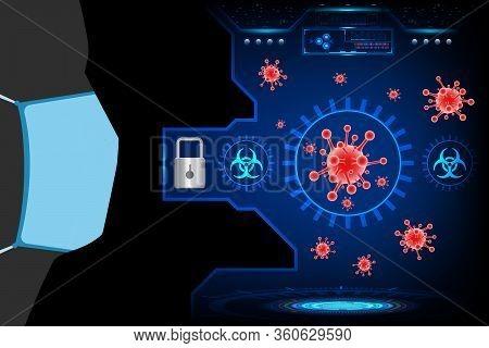 Coronavirus (covid-19) With Research Technology Futuristic Interface Element Digital Design Innovati