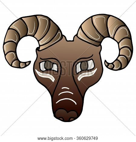 Ram Head Graphic Hand Drawn Vector Cartoon Doodle Illustration, Animal With Curved Horns, Isolated H