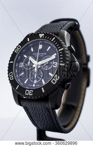 Ibach, Switzerland 31.03.2020 - The Close Up Of Victorinox Man Watch Stainless Steel Case Leather St