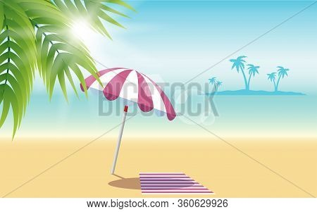 Colorful Umbrella And Beach Mat On The Beach In Summer