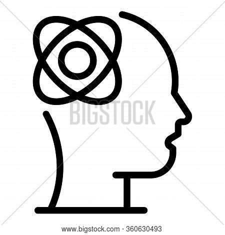 Atom With Orbits In The Head Icon. Outline Atom With Orbits In The Head Vector Icon For Web Design I