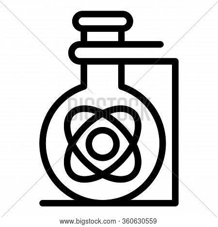 Flask With Atom Icon. Outline Flask With Atom Vector Icon For Web Design Isolated On White Backgroun