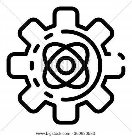 Gear With Atom Icon. Outline Gear With Atom Vector Icon For Web Design Isolated On White Background