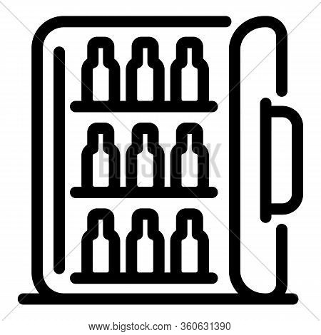 Hotel Mini Bar Icon. Outline Hotel Mini Bar Vector Icon For Web Design Isolated On White Background