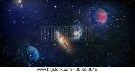 Planets, Stars And Galaxies In Outer Space Showing The Beauty Of Space Exploration. Beautiful Nebula