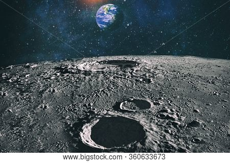 Moon Limb With Earth Rising On The Horizon.earth Rises Above Lunar Horizon. Elements Of This Image F