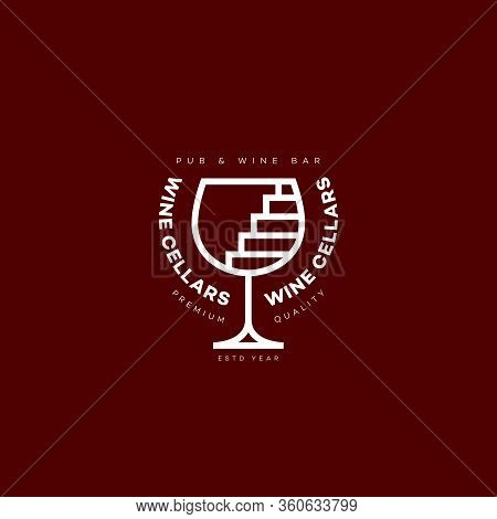 Wine Cellars Logo Design Template With Wineglass And Stairs In Linear Style. Vector Illustration.