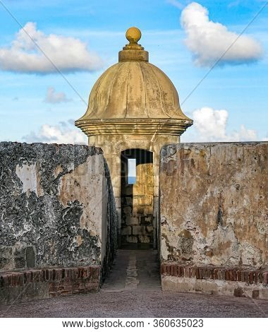 An Afternoon Closeup View Of One Of The Watch Towers Inside The Castillo San Felipe Del Morro In Old